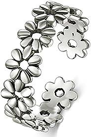 BORUO 925 Sterting Silver Toe Ring, Daisy Flower Hawaiian Adjustable Band Ring