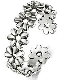 925 Sterting Silver Toe Ring, Daisy Flower Hawaiian Adjustable Band Ring