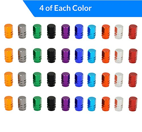 Domain Cycling 40pcs Schrader Tire Valve Caps, Hex Design Multi-Color Anodized Machined Aluminum Alloy Bicycle Bike Tire Valve Caps Dust Covers by Domain Cycling (Image #2)