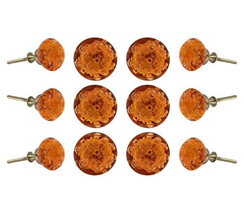 Set of 12 Glass Jones Bead Amber Cabinet Knobs Kitchen Cupboard Dresser Drawer Door Knob Pull By - Amber Dresser