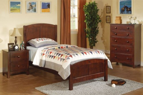 4 Colors Wood Kids Twin Panel Bed Youth Room Furniture (Dark Oak)