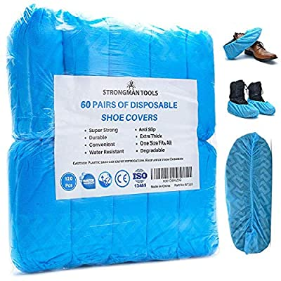Strongman Tools   120 Pack (60 Pairs) Extra Thick Disposable Shoe & Boot Covers   Durable & Water Resistant   Anti-Slip   One Size Fits Most
