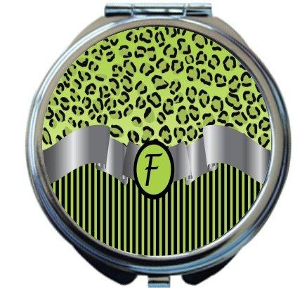 Rikki Knight Letter''F'' Lime Green Leopard Print Stripes Monogram Design Round Compact Mirror by Rikki Knight