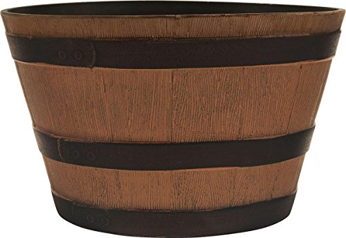 Southern Patio 077030 Hdr Whiskey Barrel Planter Natural Oak, 15.5