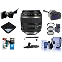 Canon EF-S 60mm f/2.8 Compact Macro AutoFocus Lens USA - Bundle with 52mm Filter Kit, Flex Lens Shade, DSLR Follow Focus and Rack Focus, Lens Wrap, Cleaning Kit, Capleash, LensPen Cleaner, Software