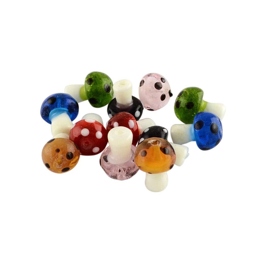 Mixed Color 19x14.5mm ARRICRAFT 100pcs Mixed Handmade Lampwork Beads Mushroom Shape Loose Beads for Bracelet Jewelry Making