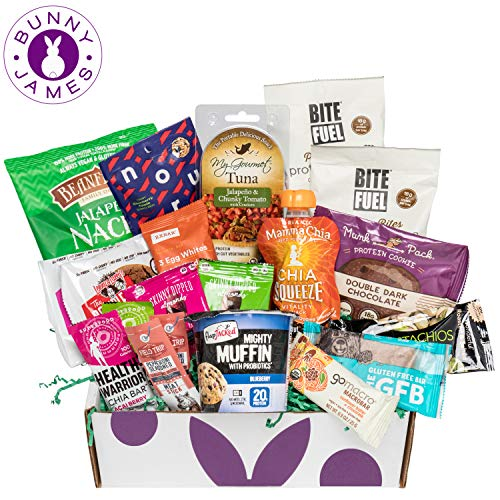 - High Protein Snacks Fitness Box: Mix of Natural Gourmet Healthy Snacks, Bars, Cookies, On The Go Energy Snacks Premium Care Package Gift Box