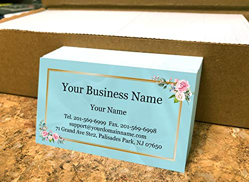 Custom Business Cards 500pcs- Modern Teal with Rose Image-16pt cover (129 lbs. 350gsm-Thick paper),Offset Printing, Made in The USA