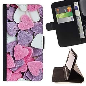 For Sony Xperia Z3 Plus / Z3+ / Sony E6553 (Not Z3) Case , Corazón de caramelo dulce de San Valentín Rosa Blanco- la tarjeta de Crédito Slots PU Funda de cuero Monedero caso cubierta de piel