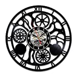 Steampunk Vinyl Wall Clock Fan Cog Wheels Art Living Room Accessories Decor Details Cogs Modern Gifts Parts Gears Abstract Expressionism Mechanism Decorations 6