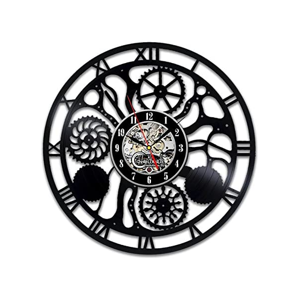 Steampunk Vinyl Wall Clock Fan Cog Wheels Art Living Room Accessories Decor Details Cogs Modern Gifts Parts Gears Abstract Expressionism Mechanism Decorations 3