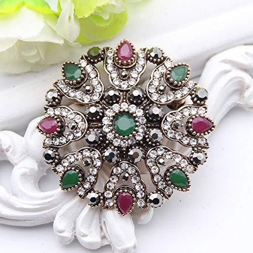 60cc4e0ae3 Amazon.com: Vintage Turkish Rhinestone Flower Brooch For Women ...