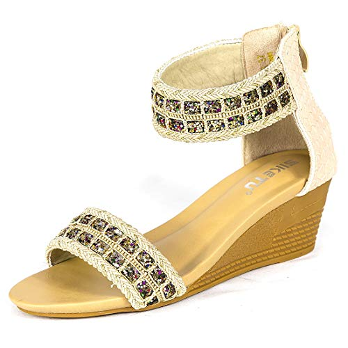 (Womens Espadrille Wedge Sandals Peep Toe Rome Slides on Platform Summer High Heel Slippers-9 M US Apricot )