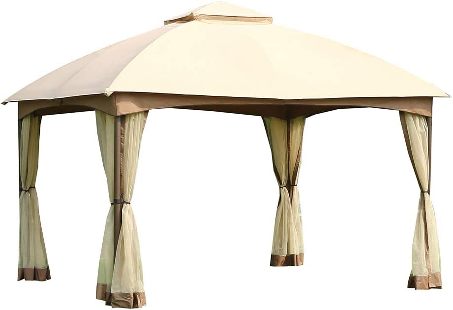 CROWN SHADES 10 x 12 Feet Dome Gazebo with Shade Curtains, Beige