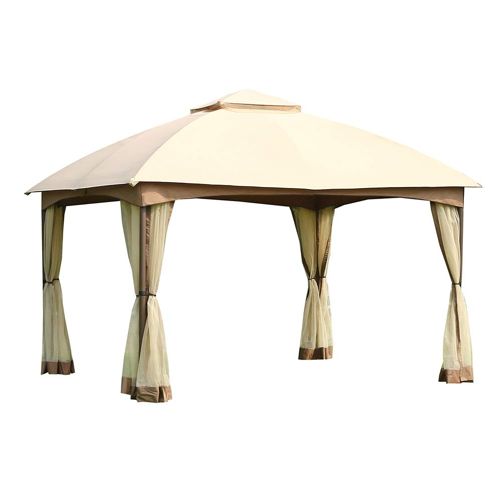 CROWN SHADES 10' x 12' Dome Gazebo with Shade Curtains, Beige