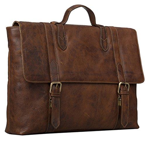 STILORD Vintage Aktentasche Herren Damen Business Tasche Retro Bürotasche Retro Arbeitstasche echtes Rinds Leder braun