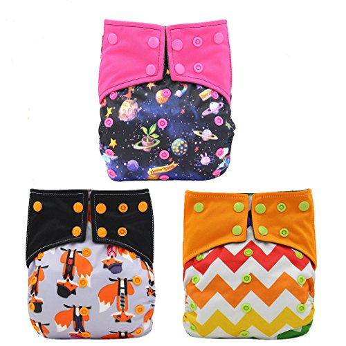 (Baby Girls Nappy Two Sides Pocket Bamboo Charcoal Cloth AIO Diaper 3 Pcs, Sewn in Insert Double Gussets Ohbabyka)