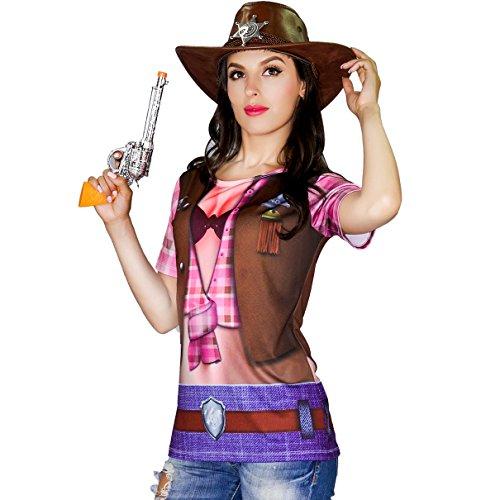 DSplay Women's Cowgirl T-Shirts (XL)