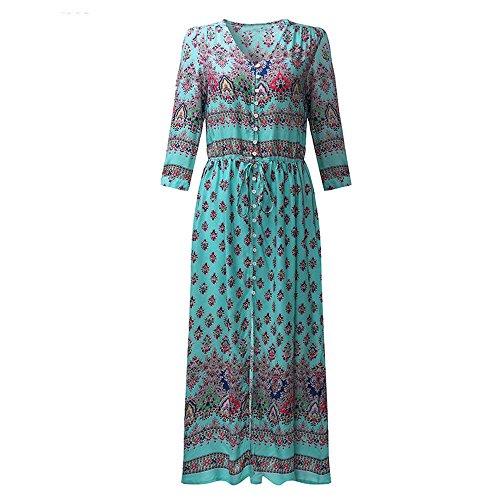 - HITRAS Clearance!Womens Dress!Sexy Women Long Maxi Long Sleeved Dress-Floral Print Beach Party Dress