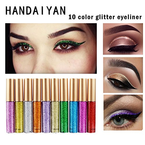Glitter Liquid Eyeliner, Zerorun 10 Colors Shimmer Metallic Pigment Waterproof Diamond Shimmer Eye Makeup