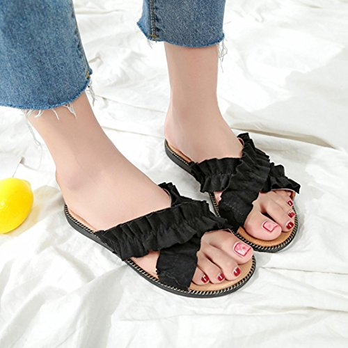 Lolittas Mule Fluffy Slippers Sandals Women Ladies Size 2-6 ,Beach Summer Wedding Bridesmaid Non Slip Embellished Open Toe Wide Fit Cushioned Shoes Black 4fa3C6oXo
