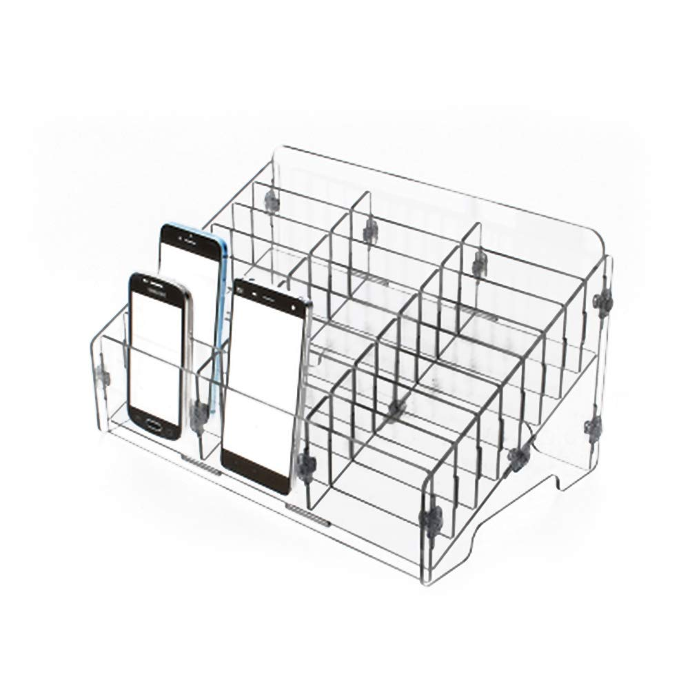 Frjjthchy Transparent Acrylic Cell Phones Storage Box Compartments Holder Desktop Supplies Organizer for Classroom