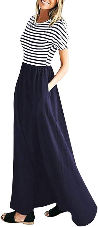 Vestiti Eleganti Da Donna.Longra Abito Lungo A Maniche Corte A Righe Da Donna Vestiti