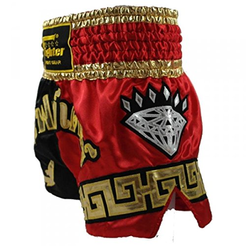 Thai Black tailandesas Kickbox doradas letras Red 4fighter Muay pantalones Shorts Diamond con EYwcBq6