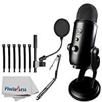 """Blue Yeti USB Microphone (Blackout) + On-Stage MBS5000 Broadcast/Webcast Boom Arm w/ XLR Cable + On Stage Pop Blocker 4"""" + Op/Tech Strapeez + Photo4Less Camera & Lens Cleaning Cloth – Complete Bundle"""