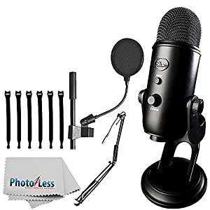 "Blue Yeti USB Microphone (Blackout) + On-Stage MBS5000 Broadcast/Webcast Boom Arm w/ XLR Cable + On Stage Pop Blocker 4"" + Op/Tech Strapeez + Photo4Less Camera & Lens Cleaning Cloth – Complete Bundle"