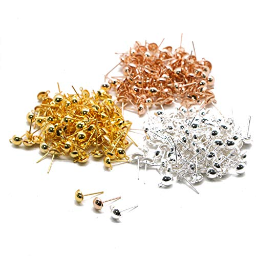 JETEHO 300pcs 3 Colors 6mm Earrings Posts Half Ball with Ring for Jewelry Earring Making Findings(Gold/Silver/Rose Gold)