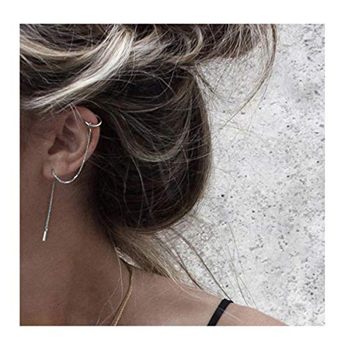 SLUYNZ 925 Sterling Silver Cuff Chain Earrings Wrap Tassel Earrings for Women Crawler Earrings (silver)