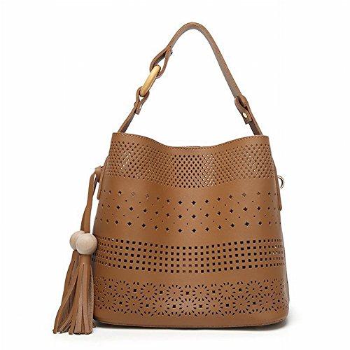 Modische Mutter Tasche Kleine Frische Hohle Eimer Tasche Casual Schulter Handtasche Temperament Diagonal Handtaschen , braun