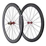 IMUST Lightweight 700C Carbon Fiber T700 Aero Road Bike Clincher 50mm Wheelset Red Hubs only 1430g