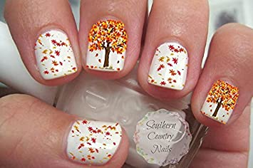 Amazon Autumn Fall Leaves 5 Nail Art Decals Beauty