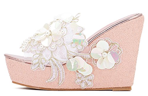 Image of IDIFU Women's Comfy Flowers High Heels Wedge Platform Summer Slippers Sandals