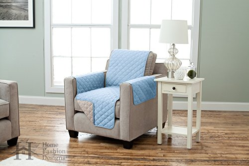Home Fashion Designs Deluxe Reversible Quilted Furniture Protector and PET PROTECTOR. Two Fresh Looks in One. Perfect for Families with Pets and Kids. By Brand. (Chair - Marine Blue/Linen) by Home Fashion Designs