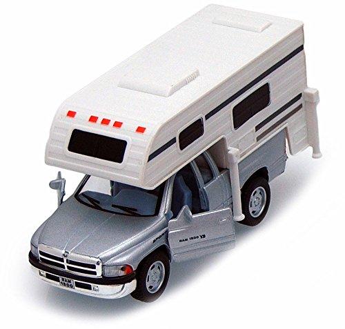Kinsmart Dodge Ram Pickup w/ Camper, Gray 5503D - 1/46 Scale Diecast Model Toy Car, but NO Box (Truck W Camper)