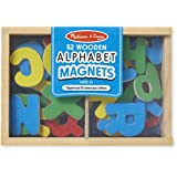 melissa doug 52 wooden alphabet magnets in a box uppercase and lowercase letters