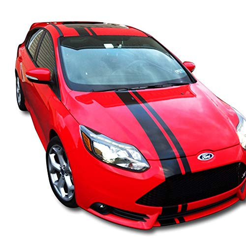Bubbles Designs Decal Sticker Vinyl Body Racing Stripe Kit Compatible with Ford Focus ST 1 2 3