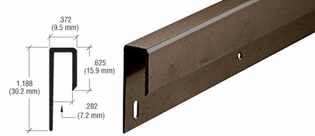 CRL Bronze Electro-Static Paint 1/4'' Deep Nose Aluminum ''J'' Channel - 12 ft long