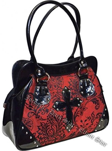Dark Star Black and Red PVC Brocade Studded Cross Handbag Purse.