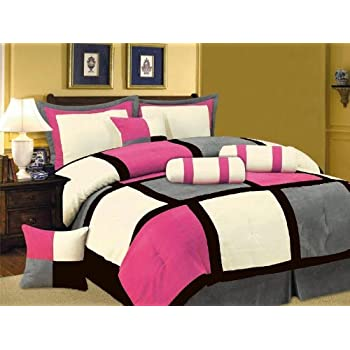 7 PC MODERN Black Hot Pink White Gray Suede COMFORTER SET / BED IN A BAG