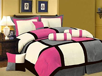 Amazon Com 7 Pc Modern Black Hot Pink White Gray Suede Comforter