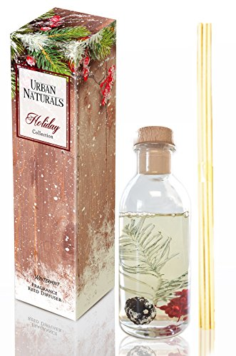 Urban Naturals Winter Mint Peppermint Essential Oil Reed Diffuser Sticks Set Peppermint Leaf, Spearmint & Eucalyptus Essential Oils | Great Year Round Scent!