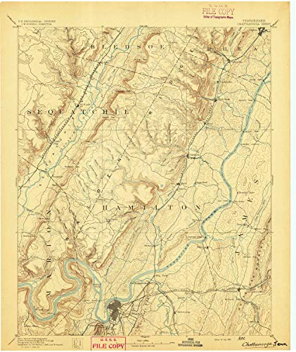 YellowMaps Chattanooga TN topo map, 1:125000 Scale, 30 X 30 Minute, Historical, 1893, 19.9 x 16.8 in - Polypropylene