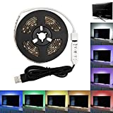 SUPERNIGHT 2m USB RGB LED Strip Lights 3528 Waterproof Flexible Adhesive Tape Multi Color Changing Strip Lighting with Mini Controller for TV Computer Desktop Laptop Background Home Kitchen Decoration