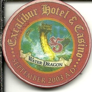 $5 excalibur water dragon 2003 a.d. las vegas nevada poker casino chip