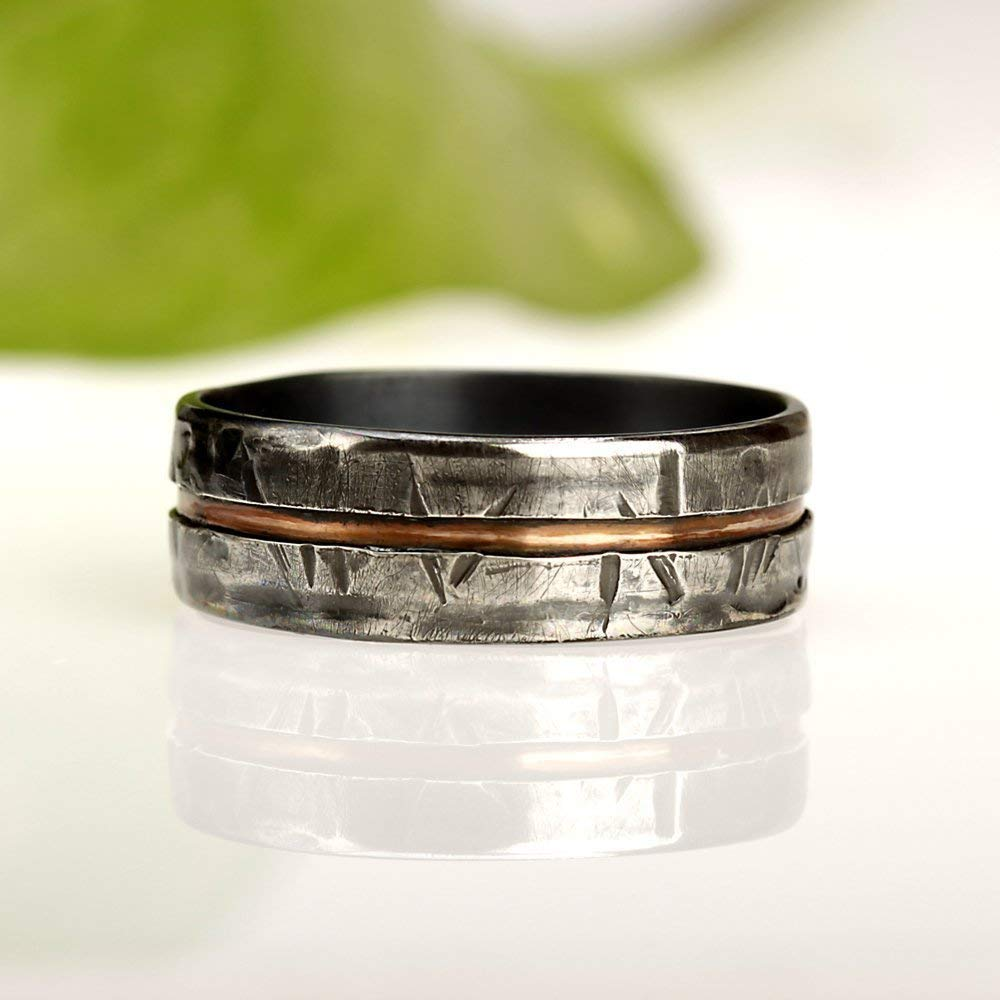 Amazon Rustic Men's Ring Unique Man's Wedding Band Gift For Men Silver Copper: Rustic Wedding Bands Men S At Reisefeber.org