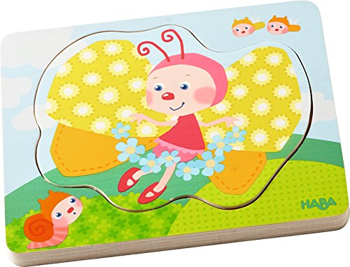 HABA Butterfly Magic 4 Piece Layered Wooden Puzzle for Ages 12 Months and Up